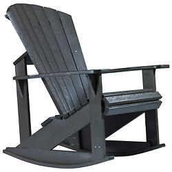 Recycled Plastic Adirondack Rocking Chair Black 34