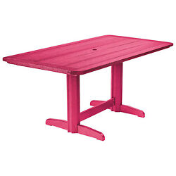 Recycled Plastic Double Pedestal Dining Table WBase Fuchsia 72