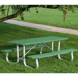 8' Galvanized Frame Picnic Table Recycled Plastic Green