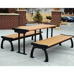 Heritage Picnic Table Recycled Plastic 6 Ft Black & Cedar