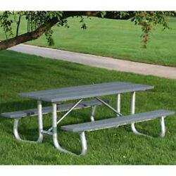 8' Galvanized Frame Picnic Table Recycled Plastic Gray