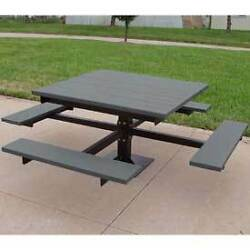 4' T-Table Recycled Plastic Gray