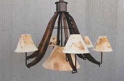 WESTERN CHANDELIER 6 HORSE HAMES CHANDELIER RUSTIC FURNITURE and DECOR