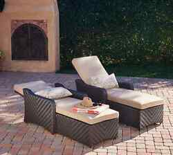 2 Pc Resort Chaise Lounge Chair Pool Lounger Set Patio Furniture All Weather NEW