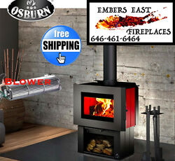 Osburn SOHO Wood Stove Fireplace Modern Contemporary Pedestal Red Enamel Package