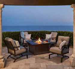 Outdoor 5 Pc Fire Pit Dining Table Patio Set Rocking Cushioned Lounge Chairs NEW