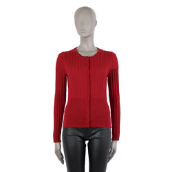 40714 auth DOLCE & GABBANA red cashmere Crewneck Cardigan Sweater 46 XL