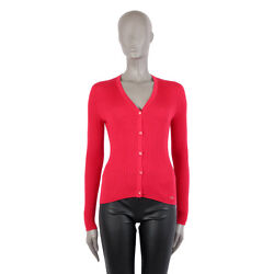 40563 auth CHRISTIAN DIOR red cashmere & silk Cardigan Sweater 38 S