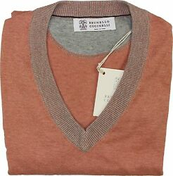 BRUNELLO CUCINELLI MEN'S V-NECK SWEATER 4838U.S.-MADE IN ITALY