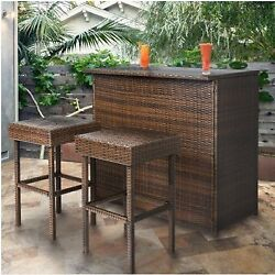 Home Bar Furniture Height Patio Wicker Clearance Stools Table Portable Set