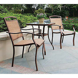 Outdoor Patio Furniture Bistro Set Garden Table and Chairs 3-Piece Backyard Deck