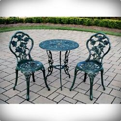 VINTAGE PATIO BISTRO TABLE CHAIRS WROUGHT IRON LEGS ROSE VERDI GREEN OUTDOOR