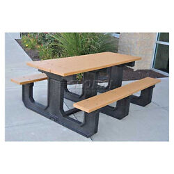 Jayhawk Recycled Plastic 8 Ft. Park Place Picnic Table Gray