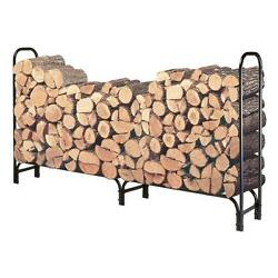 8 ft. Firewood Outdoor Rack Log Holder Home Fireplace Heating Accessory Black