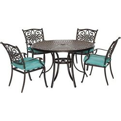 Hanover 5 Piece Traditions Dining Set Home Outdoor Garden Patio Furniture Decors