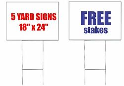 SET of 5 Custom 24quot; x 18quot; Yard Signs 2 Sided Free Stakes Commercial Signs