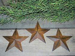 Set of 3 Rusty Black Barn Stars 5.5quot; Primitive Country Rustic Rust 5 1 2quot; $9.94