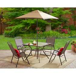 Patio Furniture Dining 6-Piece Steel Sling Folding Chairs Set Table Umberlla New