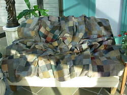 VTG Handcrafted Wool Patchwork Blanket by Hanna Hats Donegal Ireland for LL Bean