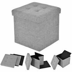 Gray Folding Storage Cube Ottoman Seat Stool Box Footrest Furniture Decor Light