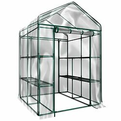 Plant Large Walk in Greenhouse with Clear Cover - 12 Shelves Stands 3 Tiers R...