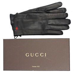 sz 9.5 NEW $565 GUCCI Black Leather CASHMERE LINED Men's Winter GLOVES NIB!