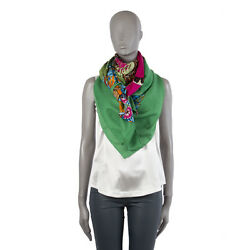 39937 auth HERMES green cashmere & silk 140cm JUNGLE LOVE Scarf
