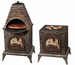 Outdoor Pizza Oven Chiminea Fireplace Cast Iron Grill Fire Pit Wood BBQ Patio