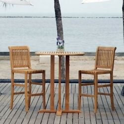 Patio Bistro Set Clearance Teak Wood Furniture Outdoor Bar Height 3 piece NEW