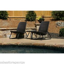 Patio Set 3 pieces Wicker Furniture Porch Deck Rattan Backyard chairs and table