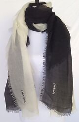 CHANEL 2017 TOP BLACK WHITE CC CASHMERE JACKET DRESS SCARF WRAP NEW IN BOX N BAG