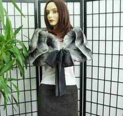 BRAND NEW CANADIAN RANCHED CHINCHILLA FUR STOLE WRAP SCARF CAPE WOMEN WOMAN ALL