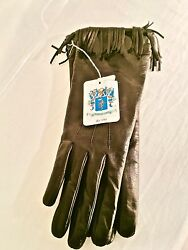 NWT $220 Authentic Portolano Long Black Leather Cashmere Lined Gloves Size 7.5