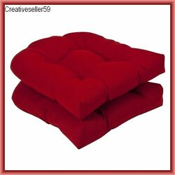 Patio Furniture Seat Cushions For Wicker Chairs Outdoor Dark Red Set 2 Pieces