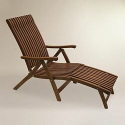 Wood Outdoor Foldable Portable Recliner Ottoman Pool Side Steamer Lounger Chair