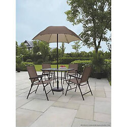 6 Piece Patio Dining Set Folding Table Chairs Umbrella Outdoor Furniture Garden