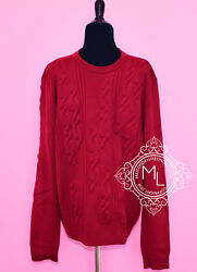 NEW HERMES MENS 60% OFF L LARGE RED ROUGE H WOOL SWEATER SHIRT KNITS JACKET COAT