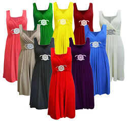 Womens Ladies Short Party Prom Bridesmaid Buckle Maxi Dress Cocktail Plus Size GBP 111.00