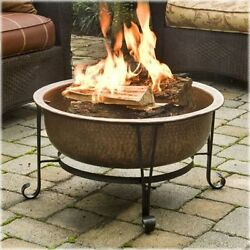 Vintage Outdoor Fire Pit Bowl Wood Burning Portable Patio Backyard Copper Tub