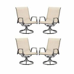 Tan 4 Piece Sling Swivel Patio Chairs Set Outdoor Home Seating Furniture Deck