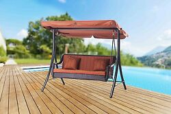 2 Person Orange Stripe Canopy Resin Patio Swing Outdoor Home Furniture Seating