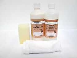 Furniture Clinic Leather Care Kit - Cleaner Protection Cream & Cloths [EH-A-F]