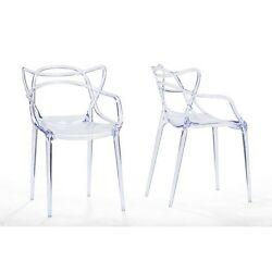 Baxton Studio  Electron Clear Plastic Contemporary Dining Chair Set Of 2 NEW