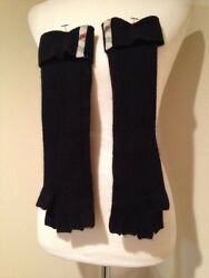 Burberry 100% Cashmere Solid To Check Black Fingerless Elbow Length NWOT