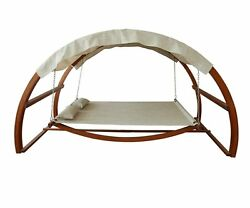 Outdoor Hammock Swing Bed Canopy Wood Swinging  Patio Furniture Daybed 2 Person