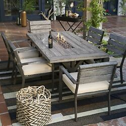 Patio Furniture Dining Set 7 Piece With Fire Pit Outdoor Table Chairs Cushions