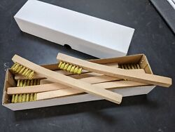 New 12 Brass Mini Wire Brushes w wood handle Tooth brush Free Ship $13.59