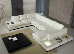 Modern White REAL Leather Corner Sectional Sofa with Light VIG Divani Casa T35