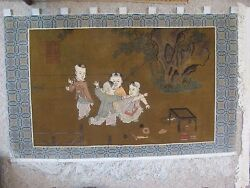 ASIAN Hand Tied WOOL Figural Tapestry Textile Fringe Wall Hanging Rug 3' x 5