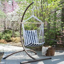 Blue Stripe Padded Sling Egg Patio Hammock Swing Outdoor Home Seating Furniture